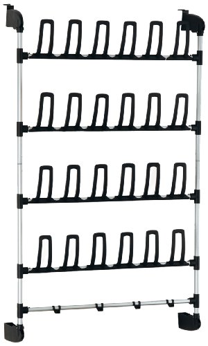 Neu Home Hanging Over door 12 Pair Shoe Storage Rack with Bottom Bar Bag Holder