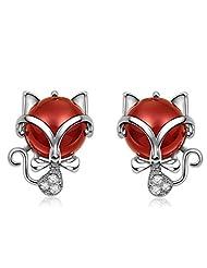 Richy-Glory - S925 Silver Fox Green Red Stone Stud Earring New Fine Jewelry