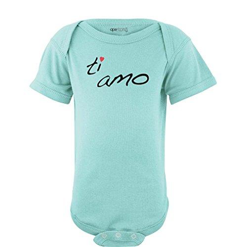 Apericots Ti Amo (Italian for I Love You) Cute Infant Valentine's Day Bodysuit (12 Months, Aquamarine) ()