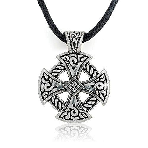 (FidgetKute Cross Viking Shield Pendant Tibetan Silver Solar Necklace Men Christian Jewelry )