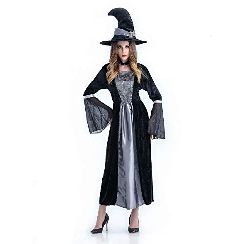 Halloween Witch Costume Cosplay Robe Lady Dress with Hat ()