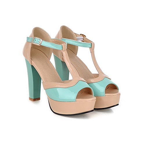 Amoonyfashion Mujer Peep Toe Buckle Blend Materiales Surtido Color High Heels Sandals Blue