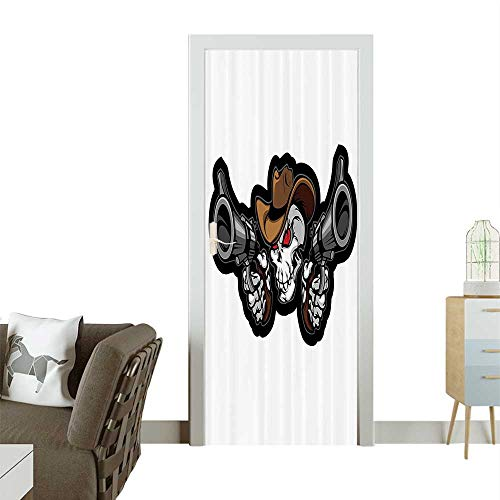 tickerSkull Cowboy Targets Shooting with The Guns Wild West Scary Room decorationW38.5 x H79 INCH ()
