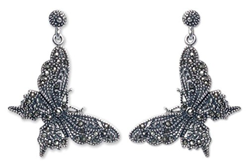 (NOVICA Marcasite .925 Sterling Silver Dangle Earrings, Butterfly Realm')