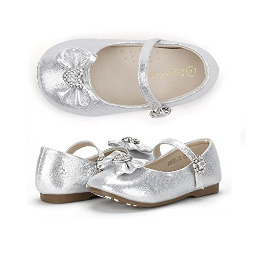 Dream Pairs ANGEL-22 Mary Jane Front Bow Heart Rhinestone Buckle Ballerina Flat (Toddler/ Little Girl) New, Silver, 6 M US Toddler