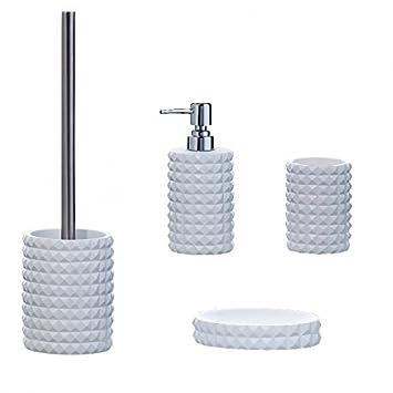 Bad Accessoire Set 5 Teilig Keramik Design Beige Braun Weiss Badezimmer  Seifenspender WC Bürste Zahnpflege Zubehör ...