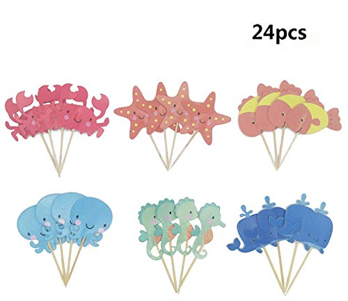 Maydolbone 24pcs The underwater world Whale Octopus Crab Sea Horse Starfish Fish Cupcake Toppers- birthday or baby shower Food Picks Decor And Cupcake Party -