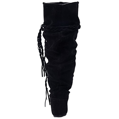 Tassel boots - TOOGOO(R)Fashion boots Tassel Sweet style Women Boot Knee High Snow Boots Warm Winter Shoes Black 37 Iqu5KXKCbI