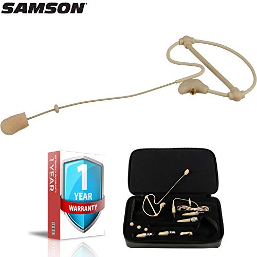 Samson SE50 Headworn Omnidirectional Mini Condenser Microphone (Beige) for Presentations with Carrying Case and 1-Year Extended Warranty