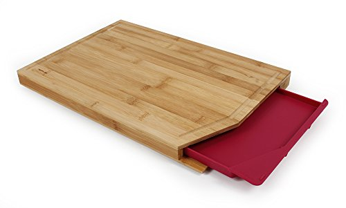 Neoflam Bamboo Cutting Board with Tray, Red ()