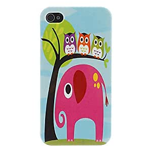 DD Owl and Elephant Pattern Hard Case for iPhone 4/4S