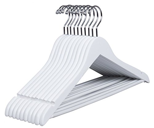 Amber Home Gugertree Solid Wooden Hangers Wood Suit Coat Hanger, White Color Smooth Finished with Non-slip Bar (10)