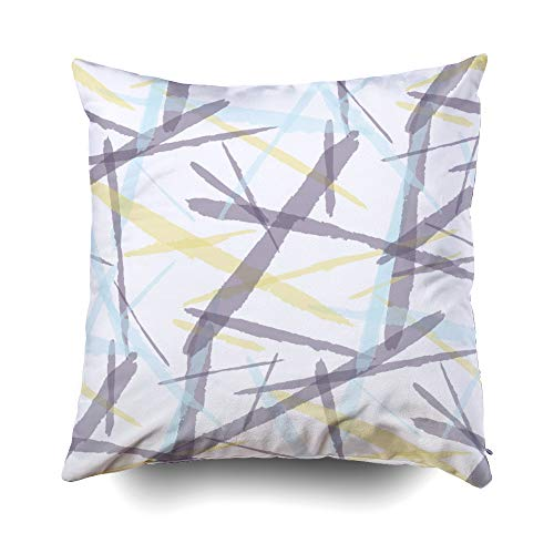 otton Square Pillow Case Covers with Zippered Closing for Home Sofa Decor Size 18X18 inch Costom Pillowcse Throw Cover Cushion Pattern Grunge Dry Brush Strokes for Plaid Fabric ()