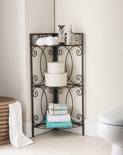 - Kings Brand Furniture Metal 3 Tier Shelf Free Standing Corner Bathroom Towel Rack Organizer Stand, Pewter