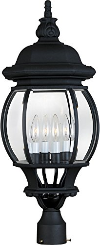 Maxim 1038BK Crown Hill 4-Light Outdoor Pole/Post Lantern, Black Finish, Clear Glass, CA Incandescent Incandescent Bulb , 60W Max., Dry Safety Rating, Standard Dimmable, Frosted Glass Shade Material, Rated Lumens