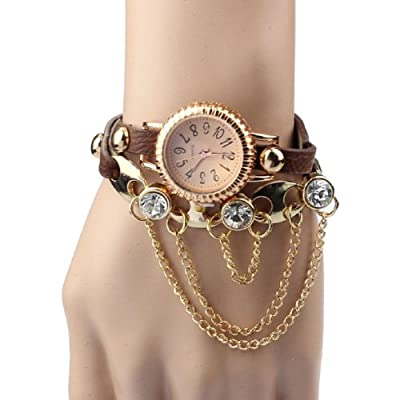 Tonsee Latest Popular Vintage Leather Rivet Bracelet Quartz Wrist Watch for Woman