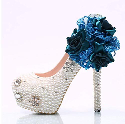 Encaje Imitación Boda Banquete Mujeres Novia Tacones De Zapatos Perla Shiney Vestido Diamantes Cristal Tacón Alto Aguja Para Flor 6FEUxwqU