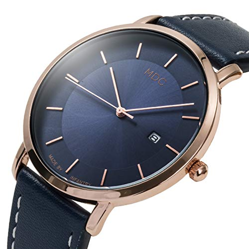 MDC Mens Minimalist Classic Analog Watch Blue Leather Ultra Thin Wrist Watches for Men with Date Dress Business Casual by MDC