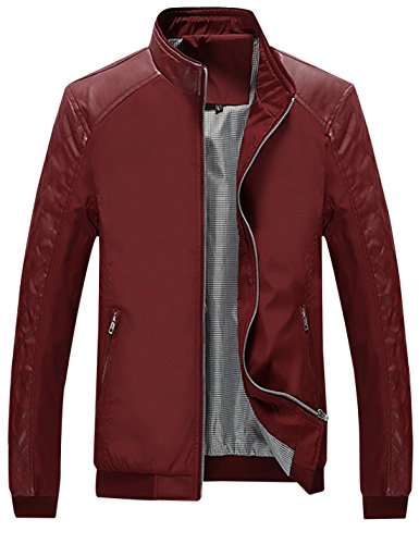 Springrain Men's Casual Stand Collar Slim Leather Sleeve Bomber Jacket (Large, Wine Red)]()