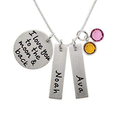 Love Silver Disc (Personalized I Love You to the Moon and Back Rectangle and Round Charm Necklace. Customize Sterling Silver Disc and Rectangle Discs. Choice of Sterling SIlver Chain. Choice of Swarovski Birthstones.)