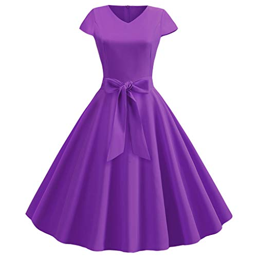 Ite Pullover Hoodie - Womens Vintage Swing 50s Housewife Skater Dress,Ladies Short Sleeve Casual Evening Party Prom Midi Smock Dresses Sunmoot Purple