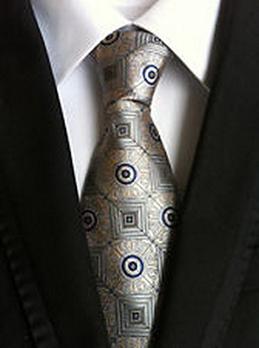 [MINDoNG Necktie Polka Dot Blue Gray JACQUARD WOVEN Men's Tie GAG # 33248] (James Bond Womens Costumes)