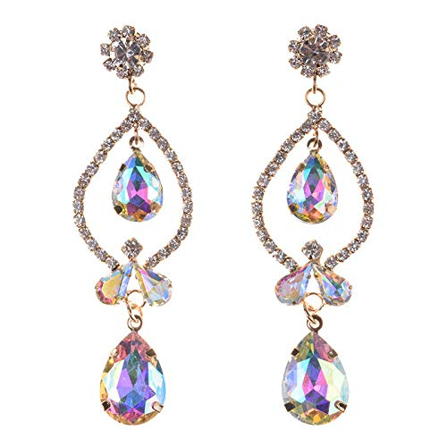 Statement Earrings for Women Lady Gorgeous Shine Costume Jewelry Puncture Drop Lovely Dangle Formal Daily Casual Fashion Accessories 1 Pair with Gift Box - HLE58 Gloden