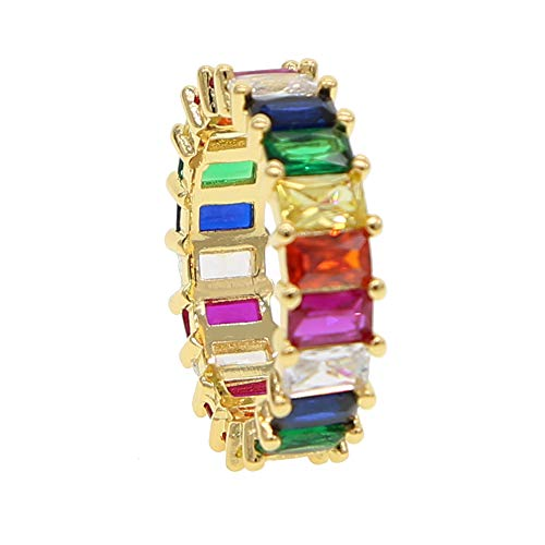 ATJMLADYJEWELRY Gold Filled Fashion Jewelry Rainbow Square Baguette Cz Engagement Ring for Women Colorful Cubic Zirconia Cz Eternity Band Ring (Gold, 9)