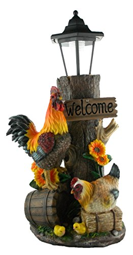 Cute Rooster Hen and Chicks Yard Solar Lantern Yard Statue Welcome Figurine | Yard Garden and Patio Statue Decor | For Farm Rooster and Country Themed Home