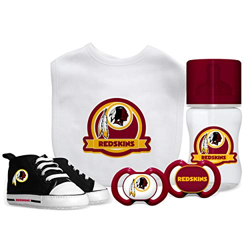 5 Piece Gift Set | Baby Toddler Cups Feeding Bottle Gift for Babies Boy Newborn Baby 3 Months and Up Silicon/Pacifier | Washington Redskins ()