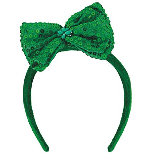 St. Patrick's Day Sequined Fabric Bow Headband St. Patrick's Day Costume Party Head Wear Accessory (1 Piece), Green, 7