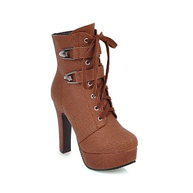 8 10 Boots Women'S Toe Bootie Evening Buckle UK7 Spring 5 Casual Party For Shoes Fall RTRY CN42 amp;Amp; Brown Round Leatherette US9 Boots EU41 Booties Ankle Strap 5 Ankle Cgdndpx