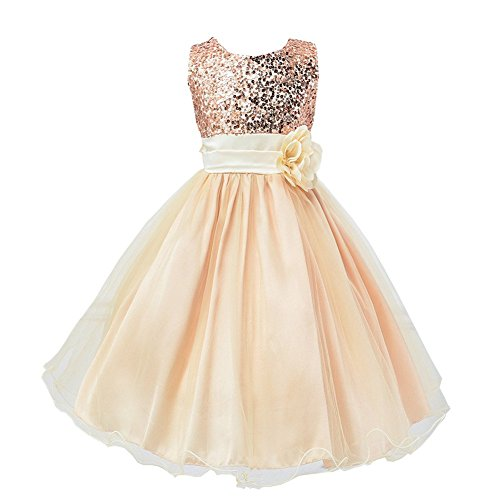 Fiying Girls' Sequins Sleeveless Long Dresses Flower Sash Wedding Bridesmaid Formal Gold 9-10 Years