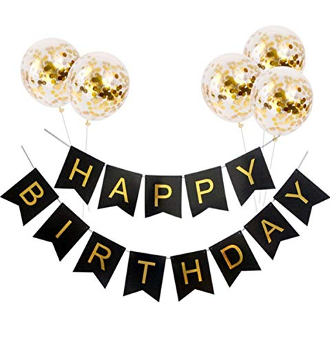 Jasmey Happy Birthday Banner Black and Gold, Birthday Bunting Flag Garland with 5pcs 12