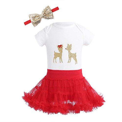 Tiaobug Filles Bébé Manches Longues Tenue De Noël Barboteuse Renne Brillant Avec Jupe Tutu Bandeau Noël Cerf Costume Manches Courtes