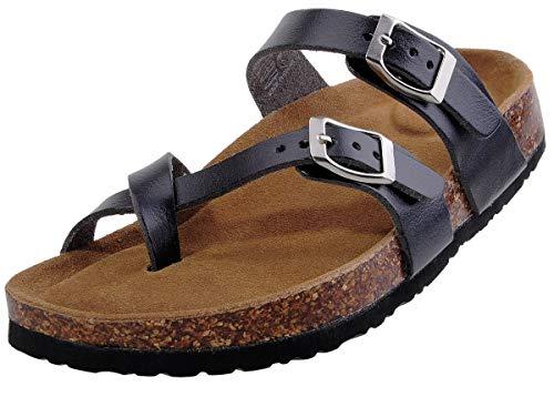 festooning Girls Classic Contoured Cork Suede Sole Footbed Slides Sandals Black Slide On Shoes 9 M US