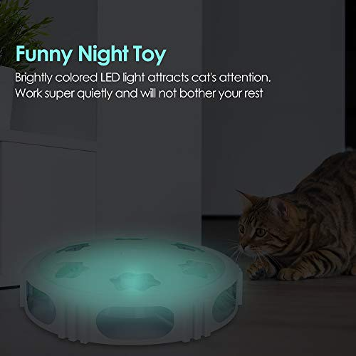 DELOMO Interactive Cat Toy, Automatic Teaser Cat Toy for Your Cat Training, Cat Squeaky Mouse Toy with Feather Bell and LED Light Stimulate Cat's Hunting Instinct 4