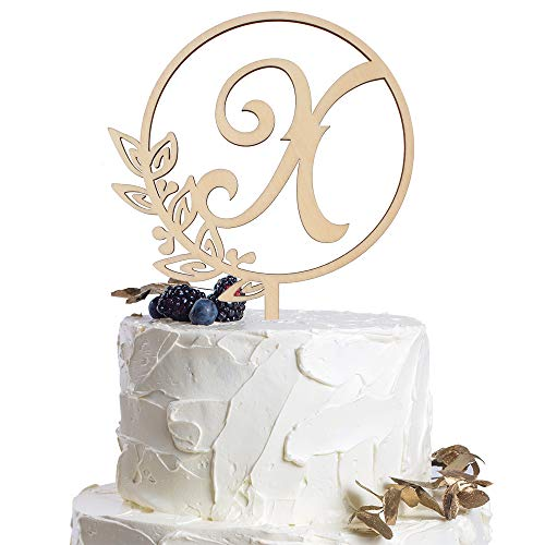 Letter X Personalized Initial Wood Cake Topper Monogram Wedding Anniversary Birthday Vow Reveal Party Decoration Supplies.