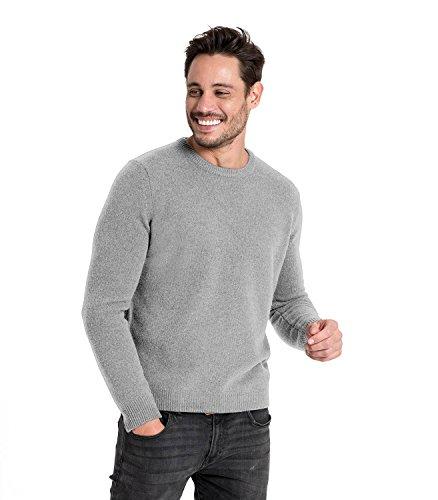 WoolOvers Pullover mit Rundhalsausschnitt aus Lammwolle für Herren Flannel Grey, L