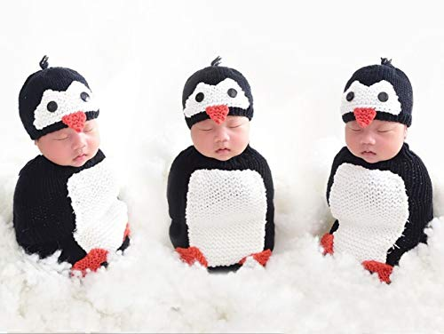 Newborn Baby Crochet Knitted Photography Props Animal Costume Set Penguin Sleeping -