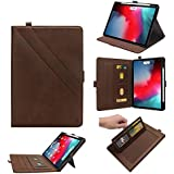 Boozuk Case for iPad Pro 12.9 2018, [Support Apple Pencil Charging] Premium Leather Stand Folio Cover with Auto Wake/Sleep, Document Card Slots for Apple iPad Pro 12.9 Inch Tablet, Brown