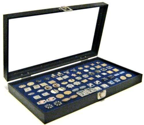 Glass Top Blue 36 Pair Cufflinks Jewelry Showcase Storage Organizer Display Case Box ()