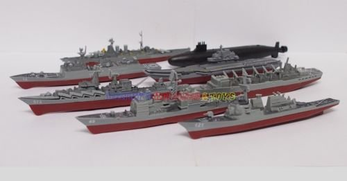 1 Set Plastic Mini Warship Model Kit (8pcs) USS HMS Russian Navy Toy - Submarines Virginia Class Uss