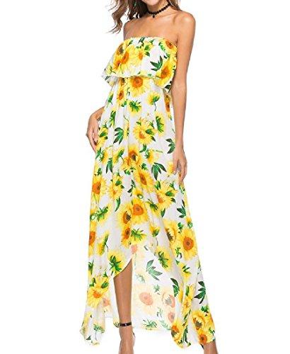 Coolred-femmes Imprimé Floral Bohème Épaule Large Robe Jaune Irrégulière Réunis