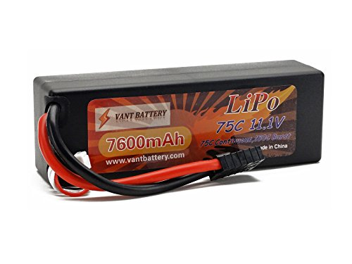 11.1V 7600mAh 3S Cell 75C-150C HardCase LiPo Battery Pack w/ Traxxas High Current Style Connector ()