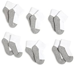 Jefferies Socks, Unisex Baby 6 Pack Seamless Sport Half Cushion Quarter Socks, White/Grey, 12-24 Months