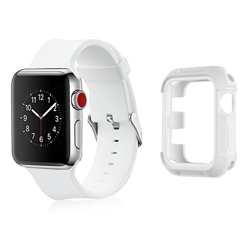 Compatible Apple Watch Band with Protector 38mm, MAIRUI Bumper Case Shockproof Rugged with Silicone Strap for Apple Watch Series 3/2/1, iWatch Sport/Edition/Nike+ (White)