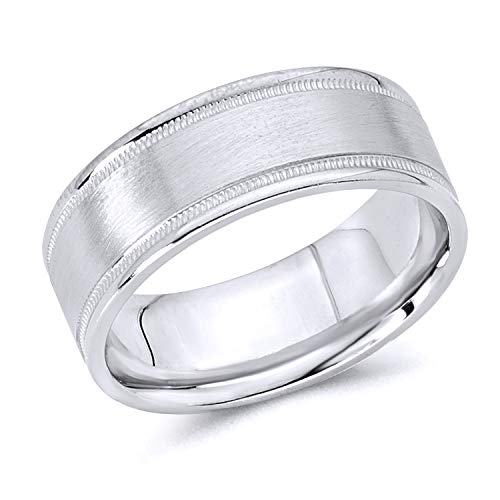 Wellingsale 14k White Gold Polished Satin 8MM Flat Milgrain Comfort Fit Wedding Band Ring - Size 10