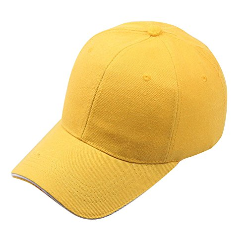 Snapback Hip-Hop Adjustable Sun Hat Unisex Casual Sport Baseball Outdoors Cotton Cap for Lady Women Mens Yellow ()