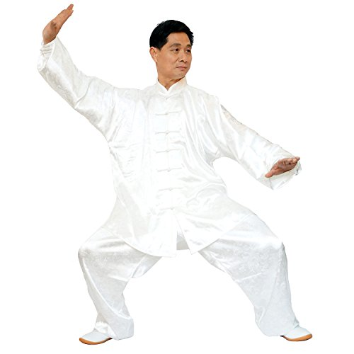 ShangYiTang Taichi Martial Arts Suit luxurious Korean Silk Dragon jacquard Unisex white XL (Silk Uniform)